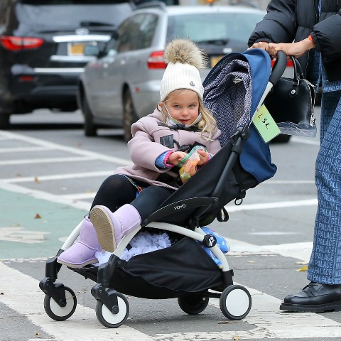 Model Irina Shayk and Lea Cooper head home in West Village in New York City. Irina is wearing blue Moschino jumpsuit and puffer coat while Lea eat fresh vegetables in her stroller. Pictured: Lea Cooper Ref: SPL5201067 021220 NON-EXCLUSIVE Picture by: Christopher Peterson / SplashNews.com Splash News and Pictures USA: +1 310-525-5808 London: +44 (0)20 8126 1009 Berlin: +49 175 3764 166 photodesk@splashnews.com World Rights