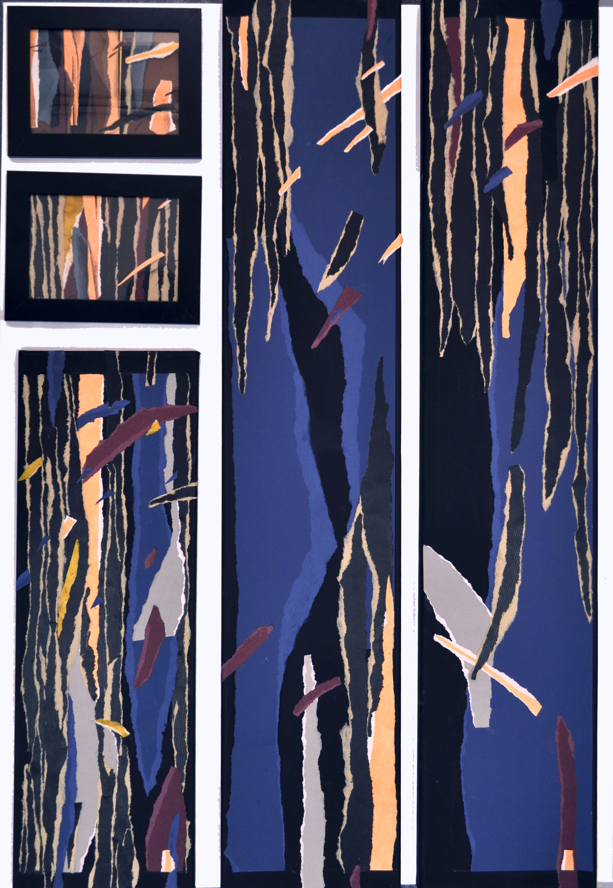 Elena Garstea, Willows by the river ,composition from cicle Eastern Illusion,70x100cm (2-20x100, 1-20x60, 2-13x20) collage on canvas, on paper 2021 jpg